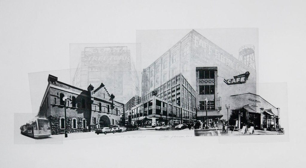 Solarplate Etching print of The Pearl District in Portland, OR